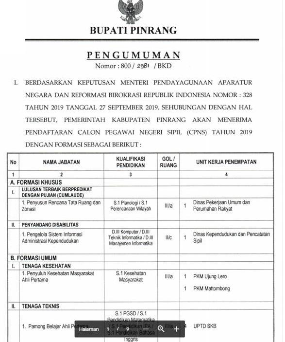 Revisi Pengumuman Penerimaan CPNSD Kabupaten Pinrang Tahun 2019