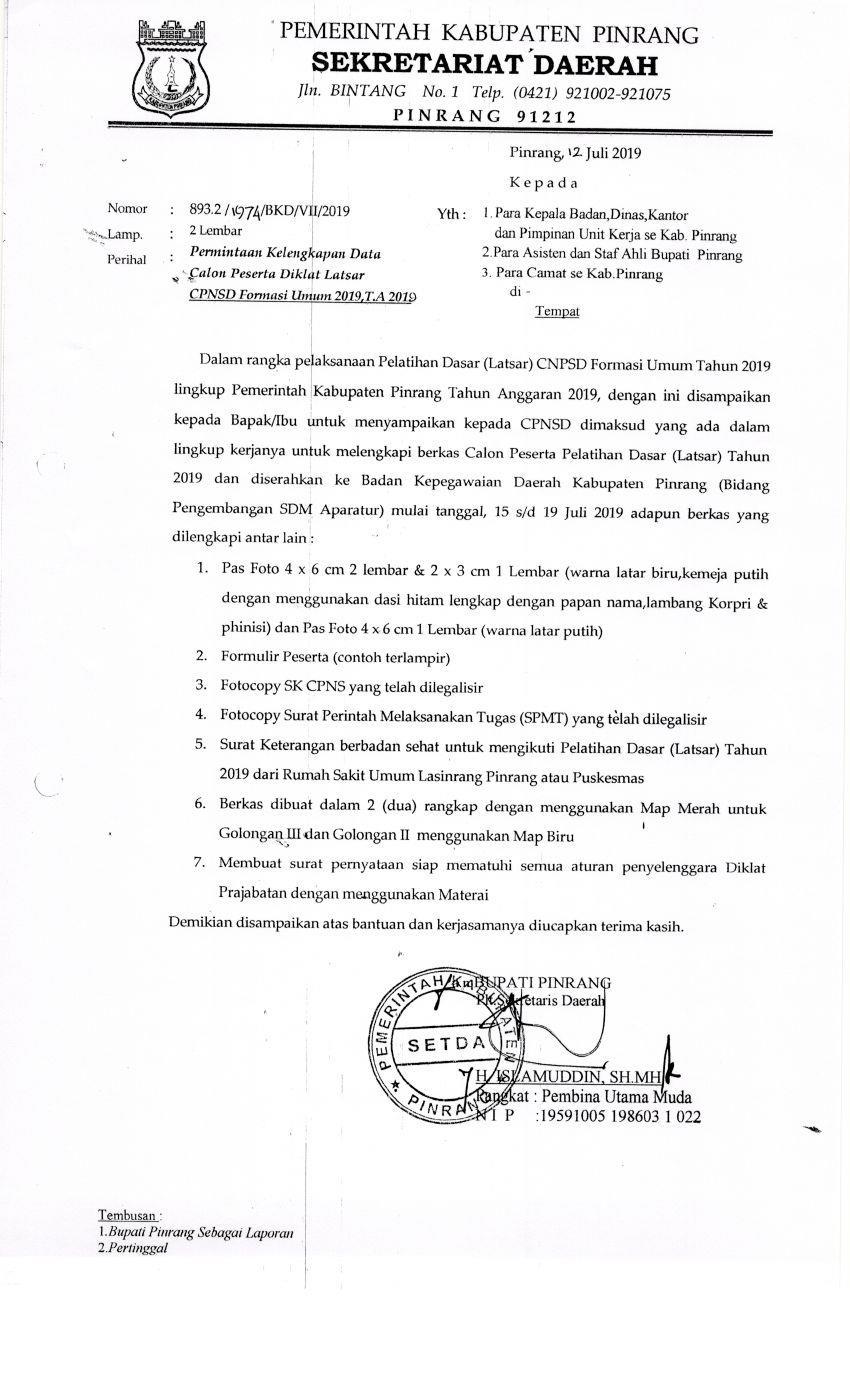 Permintaan Kelengkapan Data Calon Peserta Diklat Latsar CPNS Formasi Umum 2019