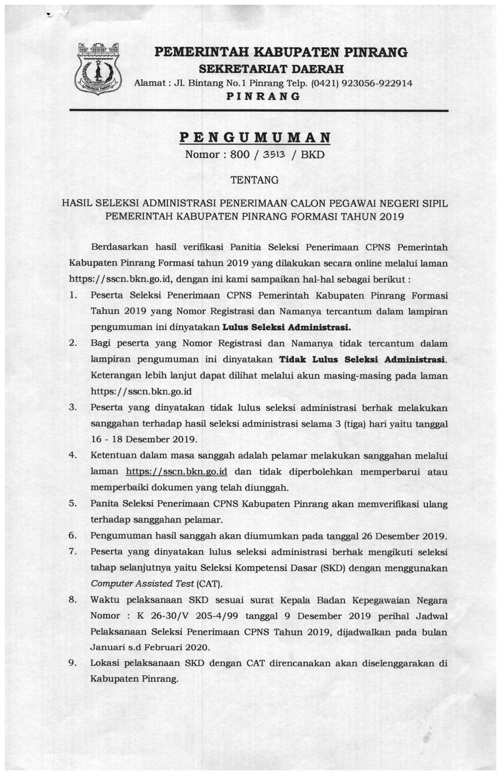 Pengumuman Hasil Seleksi Administrasi Penerimaan CPNS Pemerintah Kabupaten Pinrang Formasi Tahun 2019