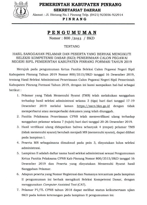 Hasil Sanggahan Pelamar dan Peserta yang Berhak Mengikuti SKD Penerimaan CPNS Kabupaten Pinrang Tahun 2019